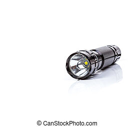 Black LED  flashlight isolated white background
