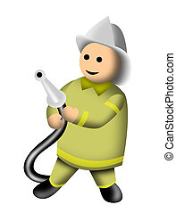 Fireman holding hose 3D style