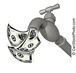 Silver faucet running with money 3D style - Illustration of...