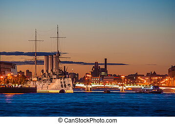 Aurora cruiser in Saint-Petersburg at night