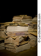 Piles of newspapers - Piles of a aged newspapers