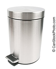 Trash can - closed trash can isolated on white background