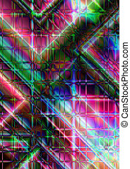 Glowing colorful square shapes inte - Bright abstract...