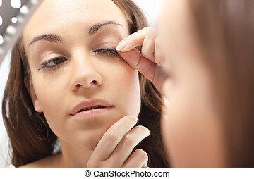 Plastics eyelashes, flirty look. - Woman stuck artificial...