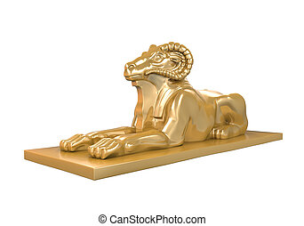 Egyptian Ram Headed Sphinx Statue - Egyptian Ram-Headed...