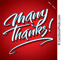 MANY THANKS hand lettering vector - MANY THANKS hand...