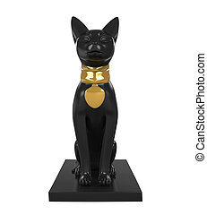 Statue Egypt Cat isolated on white background 3D render
