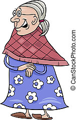 senior grandmother cartoon illustration - Cartoon...