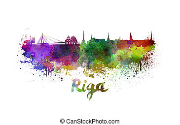 Riga skyline in watercolor splatters with clipping path
