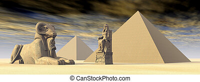 Egyptian Pyramids and Statues - Computer generated 3D...