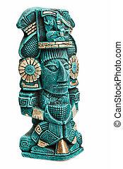 Maya, deidad, estatua, México, aislado