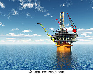 Oil Platform - Computer generated 3D illustration with an...