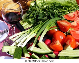 Vegetables and wine
