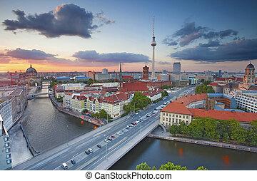Berlin - Aerial view of Berlin during beautiful sunset