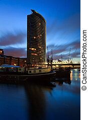 North Dock in Canary Wharf, London - Boats in the North Dock...