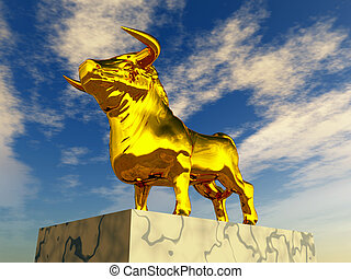 Golden Calf - Computer generated 3D illustration with a...