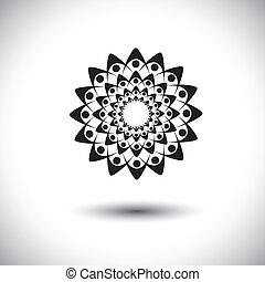 people holding hands together for oneness - concept vector graph