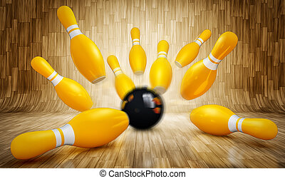 bowling - 3d rendering of a bowling concept