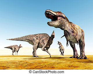Corythosaurus and Tyrannosaurus Rex - Computer generated 3D...