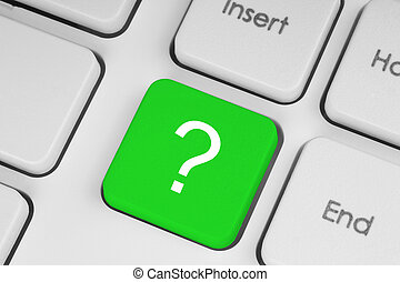 Green question button - Green question button on the...