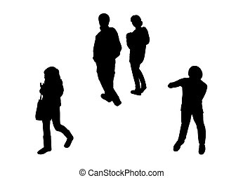 people walking top view silhouettes set 6 - black...