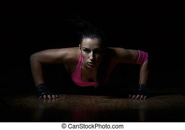 bonito, condicão física, mulher, trabalhando,...