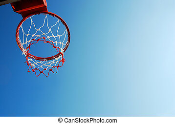 basketball outdoor court sport game blue sky background...