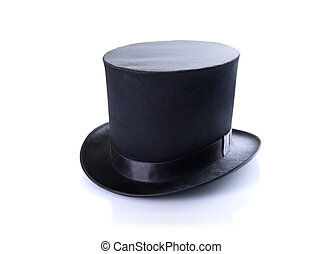 Black classic top hat, isolated on white background with...