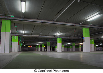 Parking Garage - Parking garage underground, industrial...