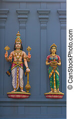 Statues of Hindu gods Vishnu and Lakshmi - Statues of Hindu...