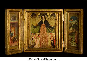 tríptico, Virgen, niño, flanked, archangels,...