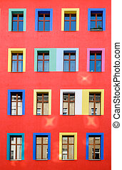 Colourful red building facade