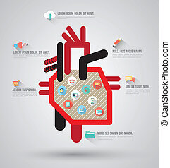 Heart template with flat icons. Can use for business...