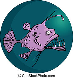 Angler-fish - Scary looking deep water ocean fish, vector...