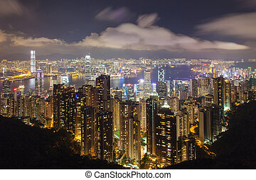 Hong Kong Island Central Cityscape with Victoria Harbour at...