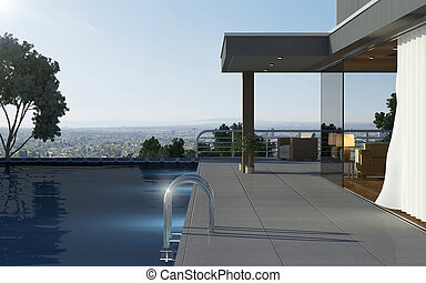Modern house with pool and beautiful view over the city