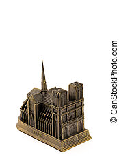 Miniature bronze copy of Notre Dame de Paris cathedral...