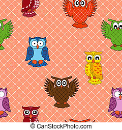 Colourful owl seamless pattern over seamless background,...