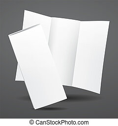 Blank vector white tri fold brochure template