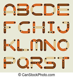 Vector flat alphabet in building kit style