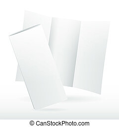 Blank white vector tri fold brochure template