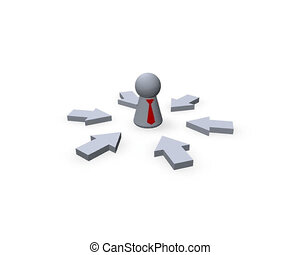 boss - moving pointers and play figure with red tie - 3d