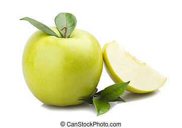 Green apple and leaves on the  white