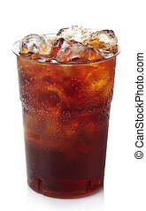 Cola - Plastic glass of cola with ice isolated on white...