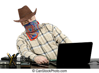 Thief stealing data from laptop - Thief in cowboy suit...