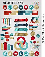 Set of business infographics elements. Vector illustration