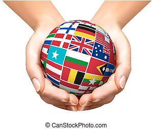 Flags of the world in globe and hands. Vector illustration.