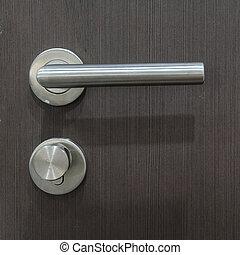 Modern door handle and lock.