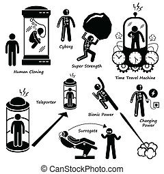 Science Fiction Icons Cliparts - A set of human pictogram...