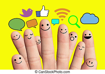 Happy finger smileys with social network sign.